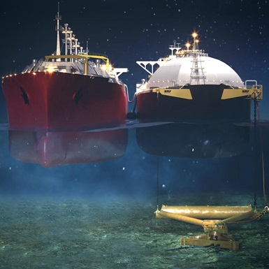 A rendering of two ships side by side at sea with an underwater view of the left one connecting to an APL tool