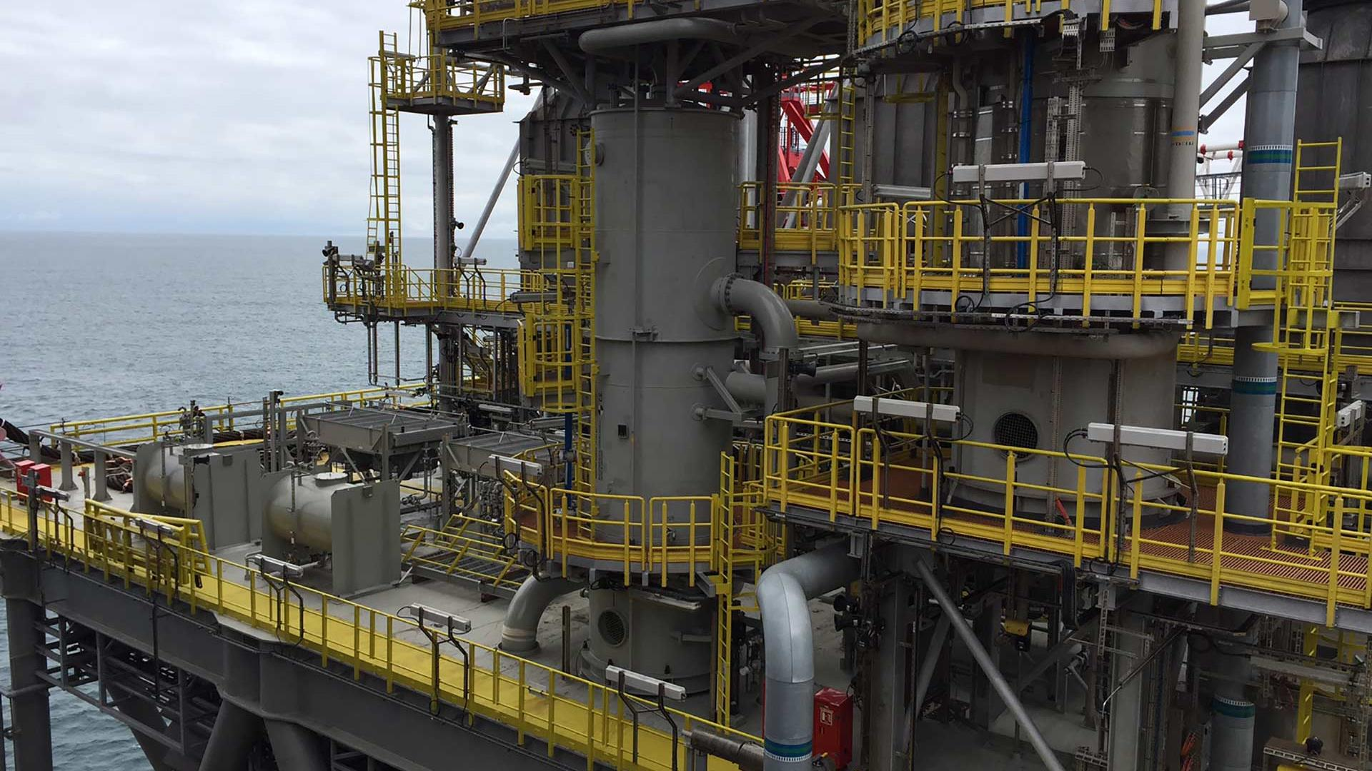 MARRS Offshore handrail in use on the BP Clair Ridge platform in the North Sea