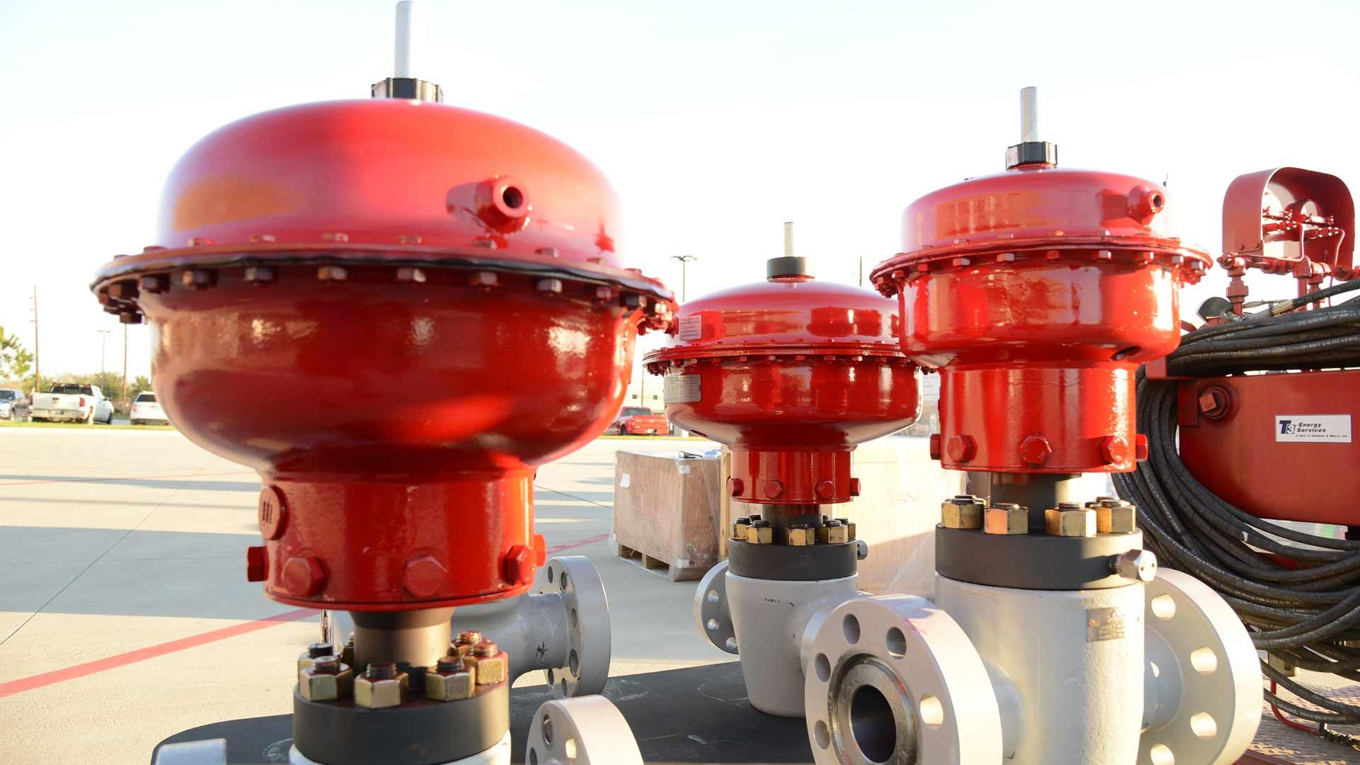 A series of Production Tree Shutdown Valves outside