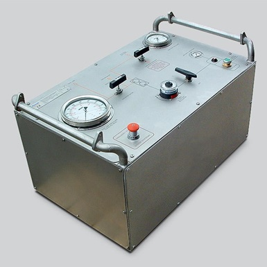 A render of a wireline pressure test gas booster unit
