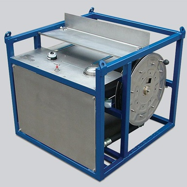 A render of a wireline portable 10,000 psi Pressure test unit