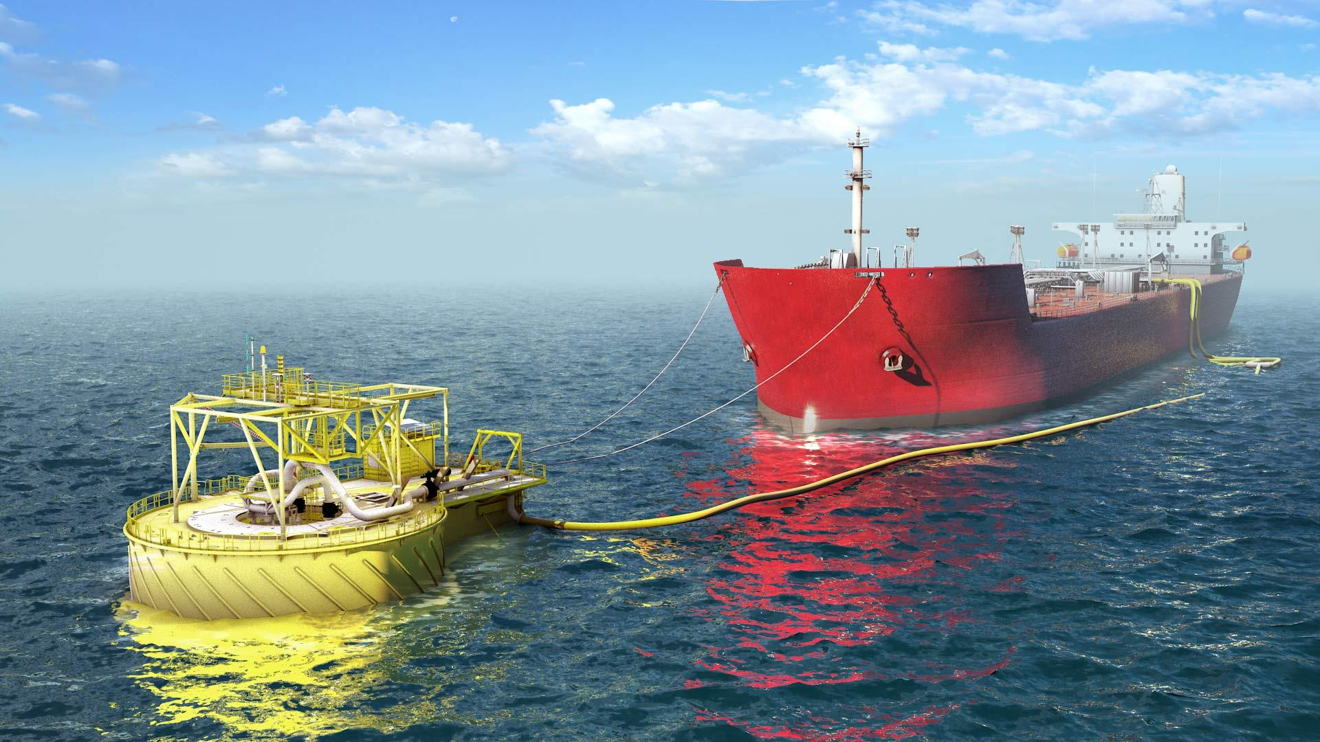Rendering of the APL Buoy Turret Loading in operation at sea