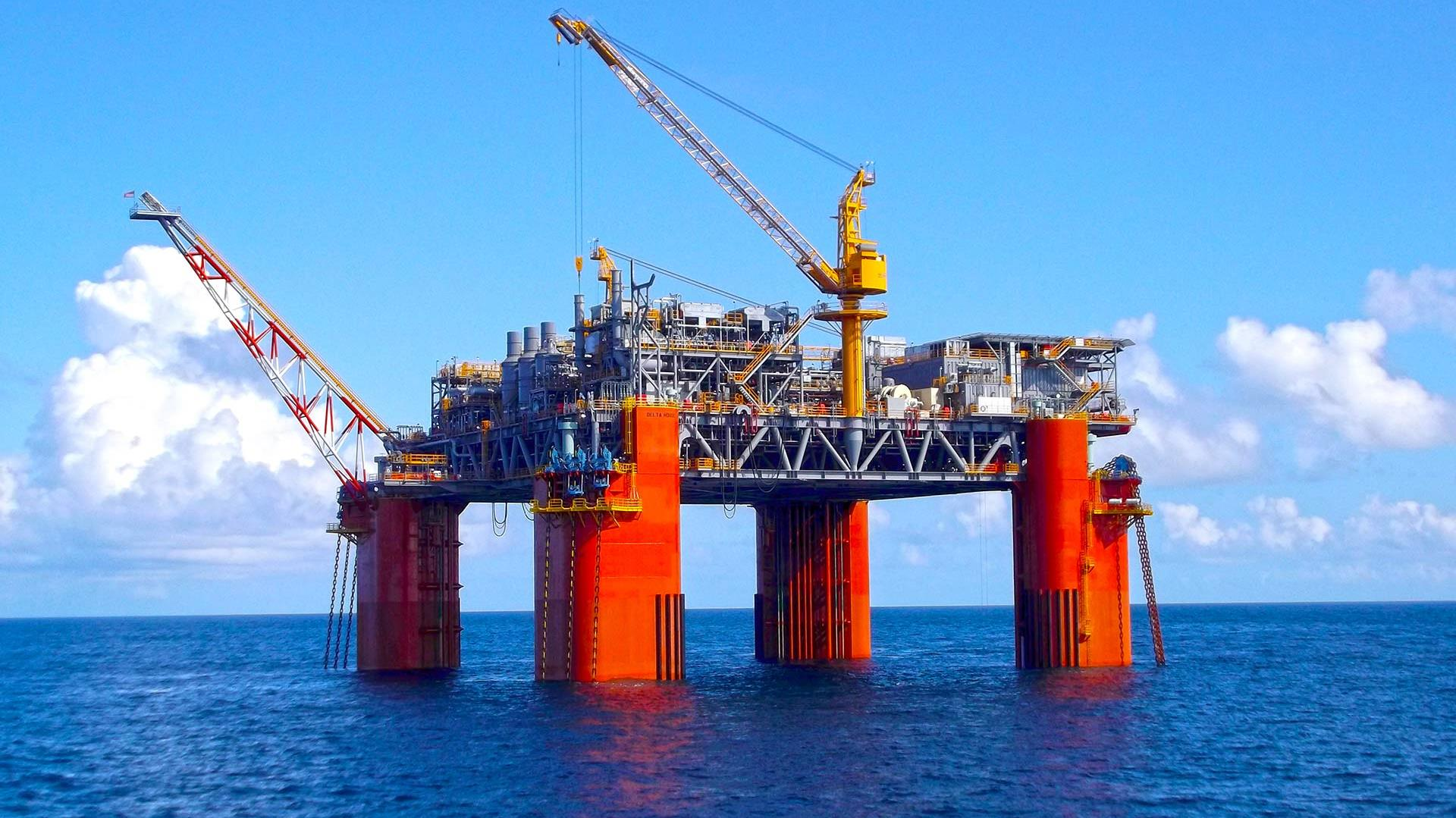 Ocean view of the LLOG Delta House semi-submersible offshore