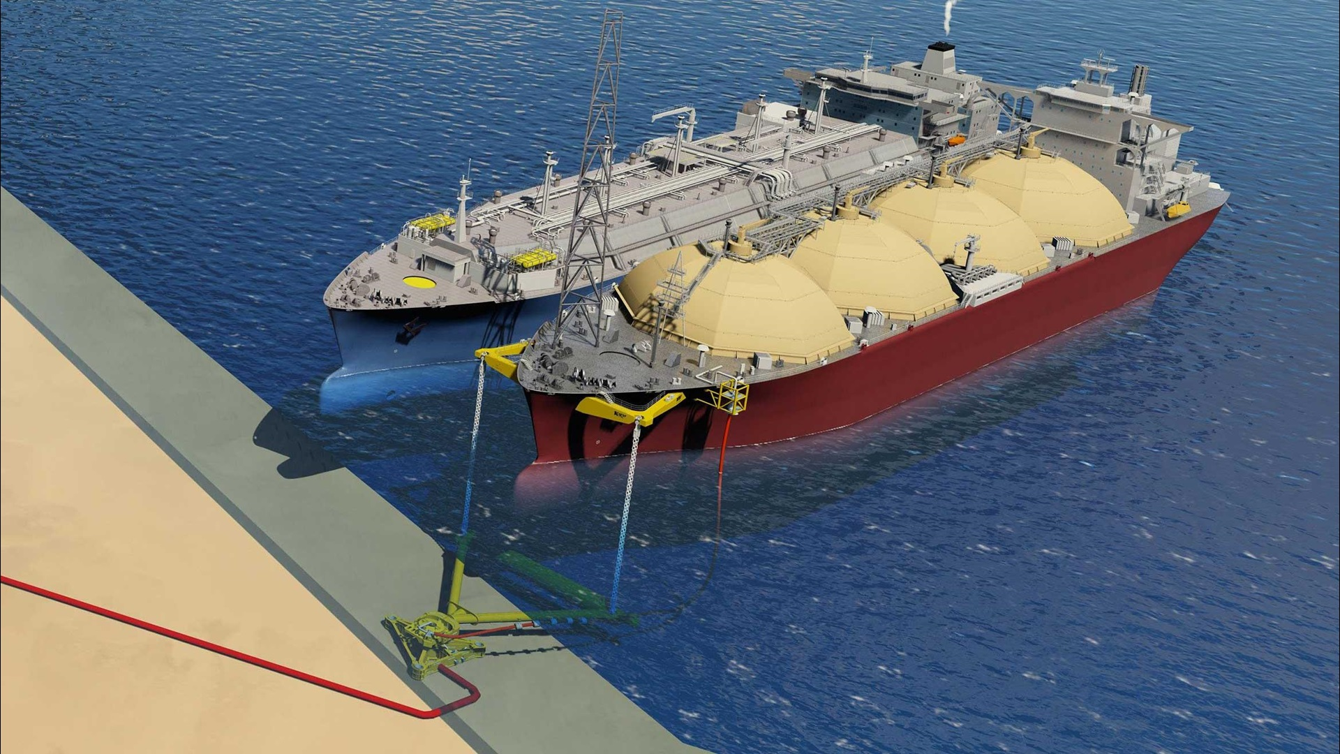 Sky view render of two tankers side-by-side in the water, showing the Submerged Swivel and Yoke