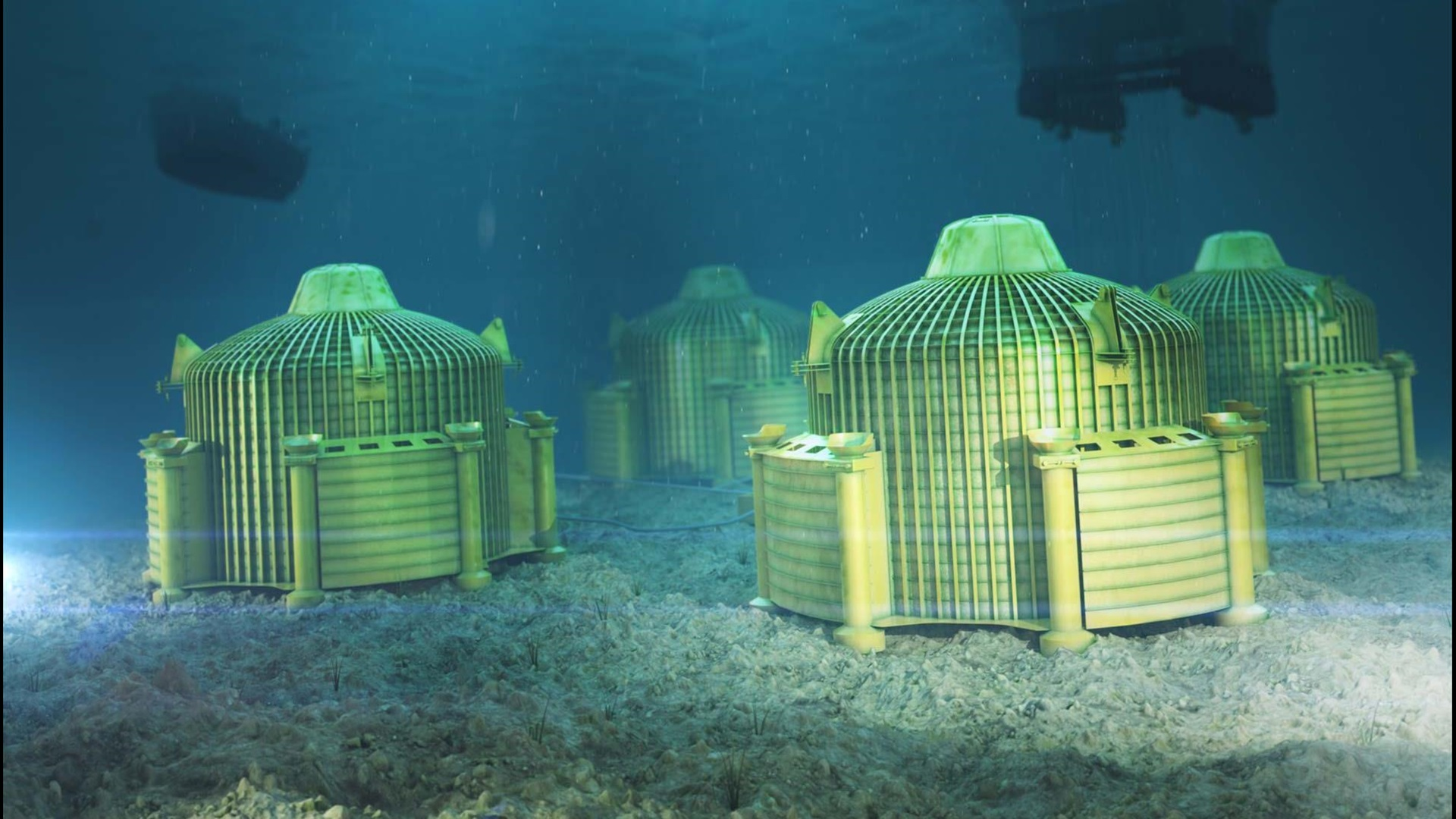 Four Subsea Oil Storage units underwater