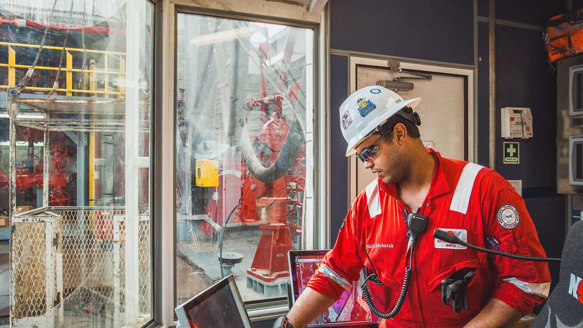 Offshore driller's cabin and NOV control station touchscreens