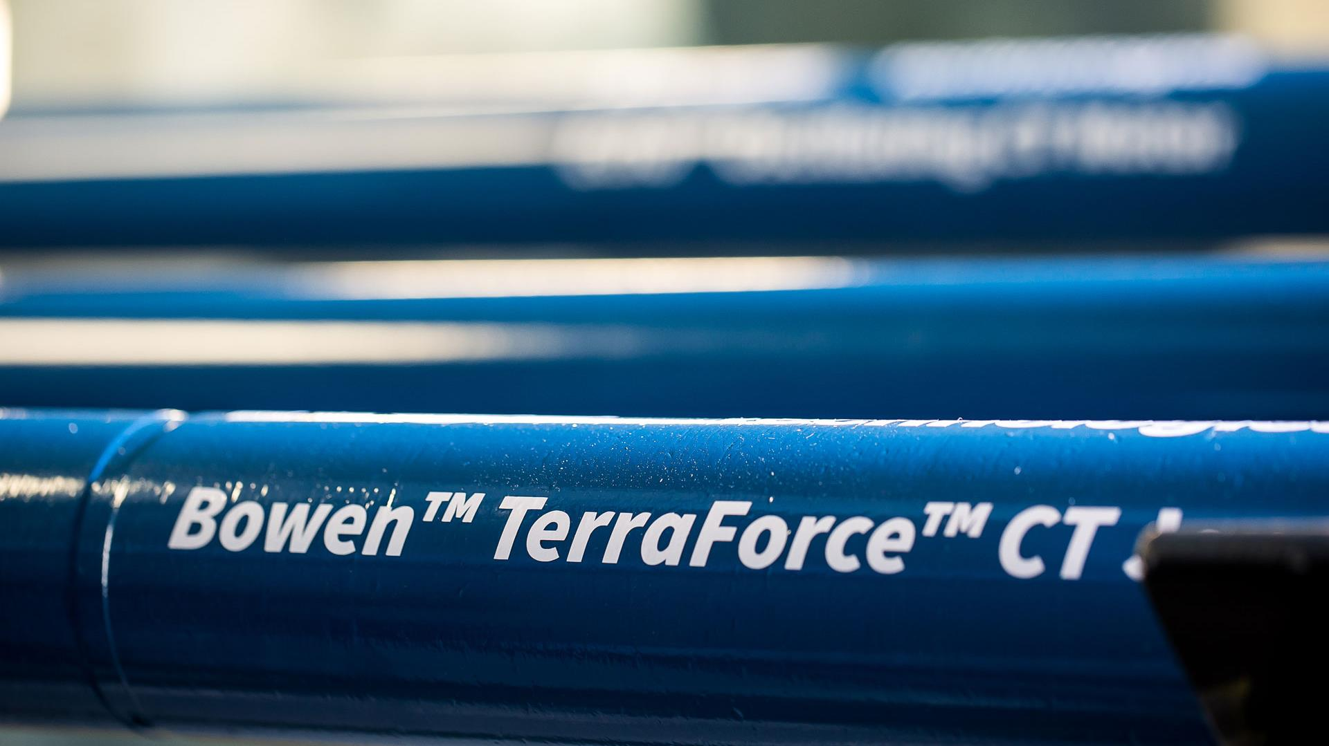 Close up of seveal TerraForce Coiled Tubing Jars, with focus one tubing jar and product name