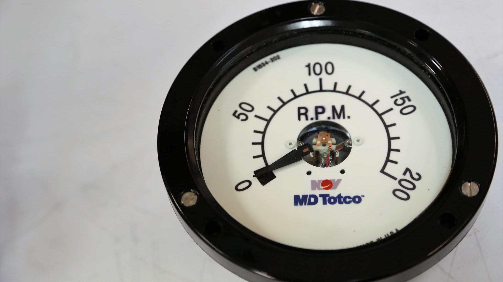 A closeup of an RPM gauge on a M/D Totco system