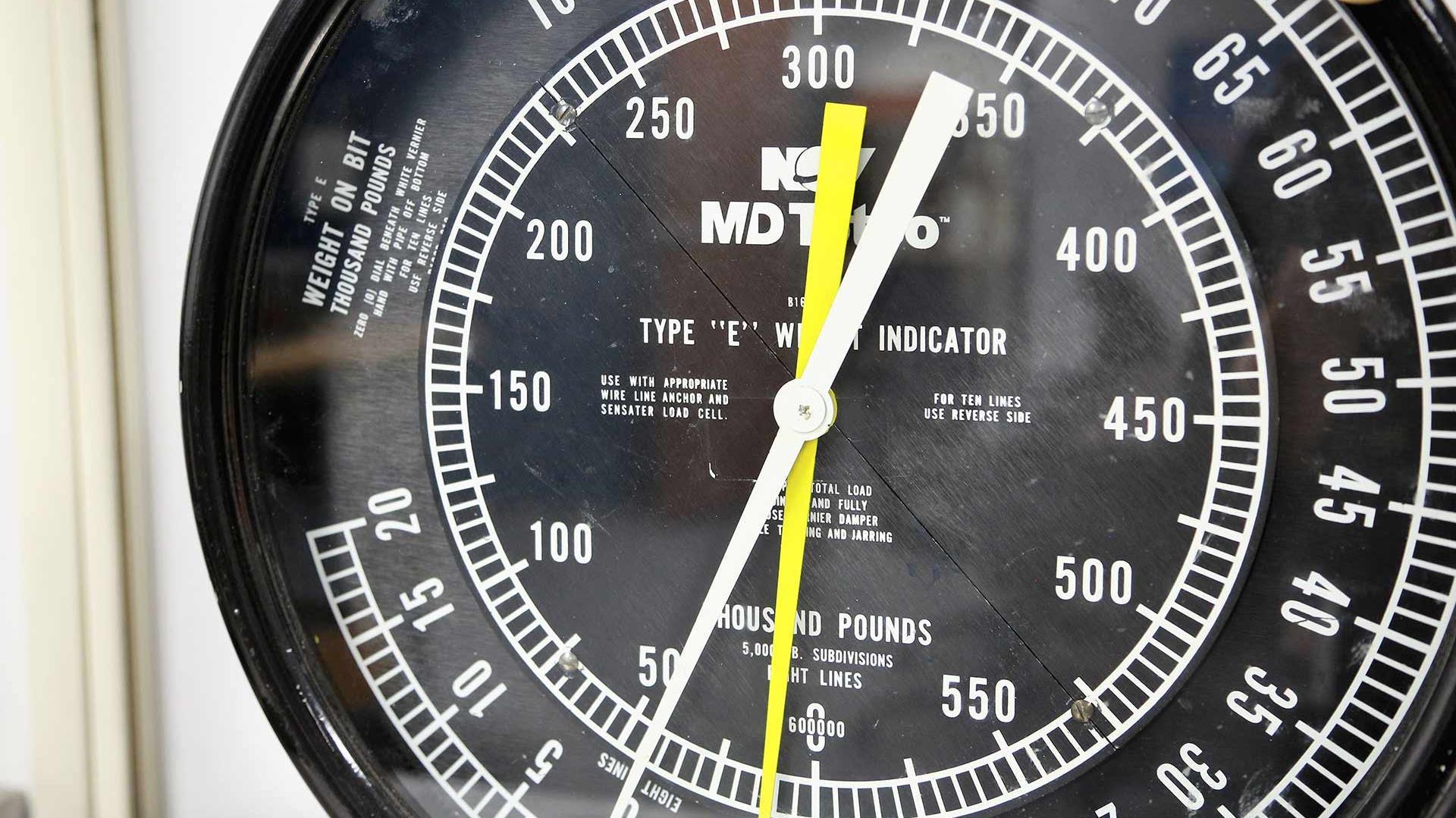 A closeup of a weight indicator