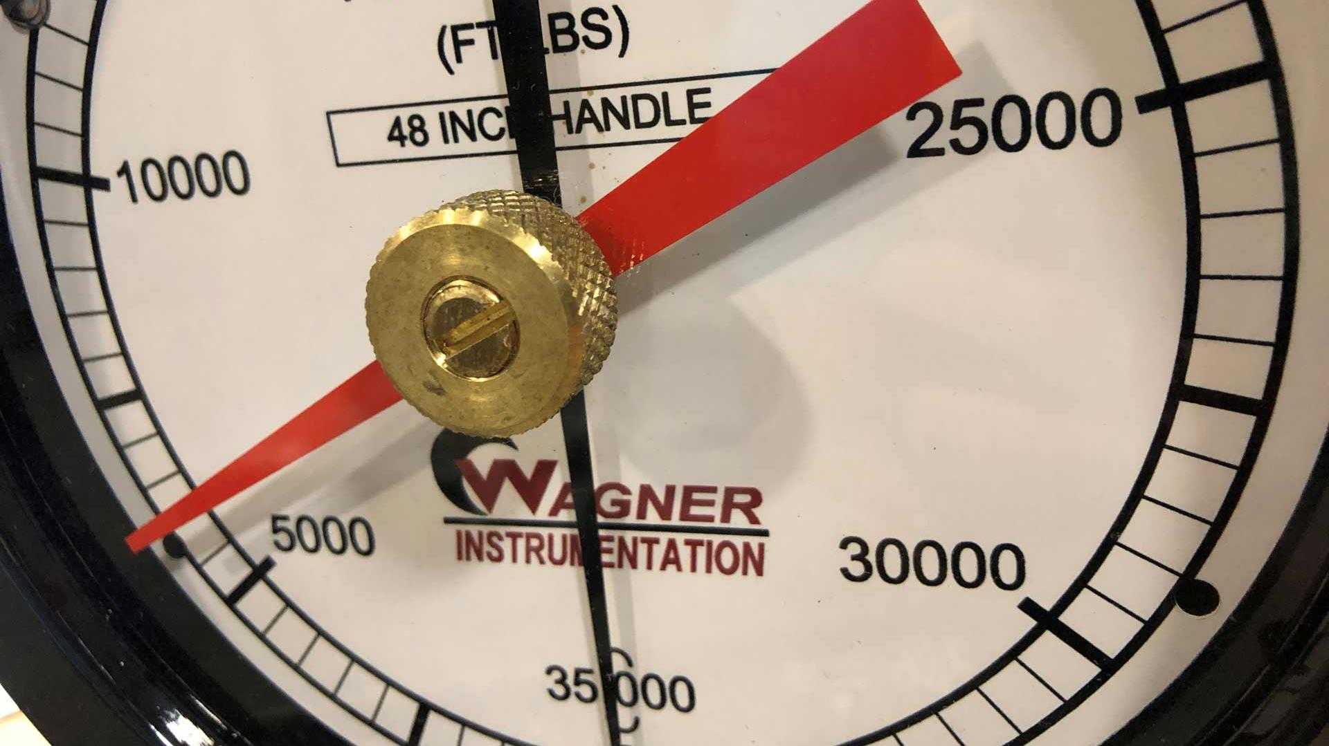 A closeup view of a Wagner Instrumentation gauge face