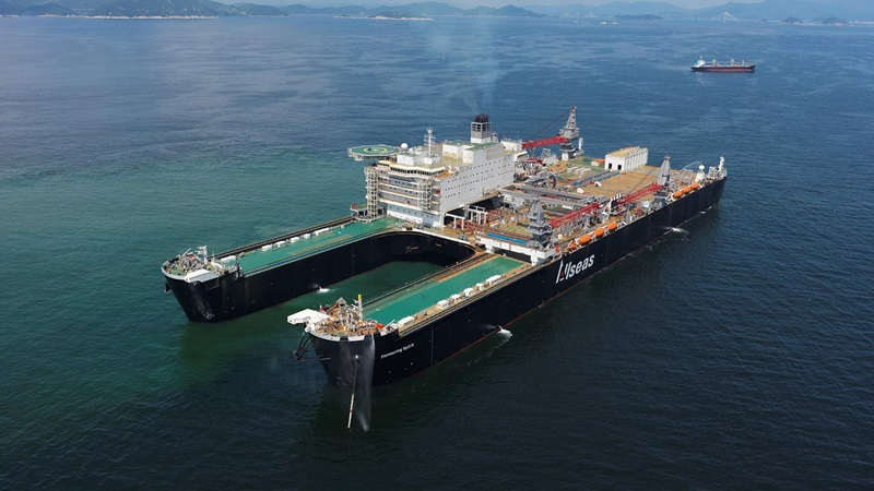 An aerial image of the Pioneering Spirit ship at sea