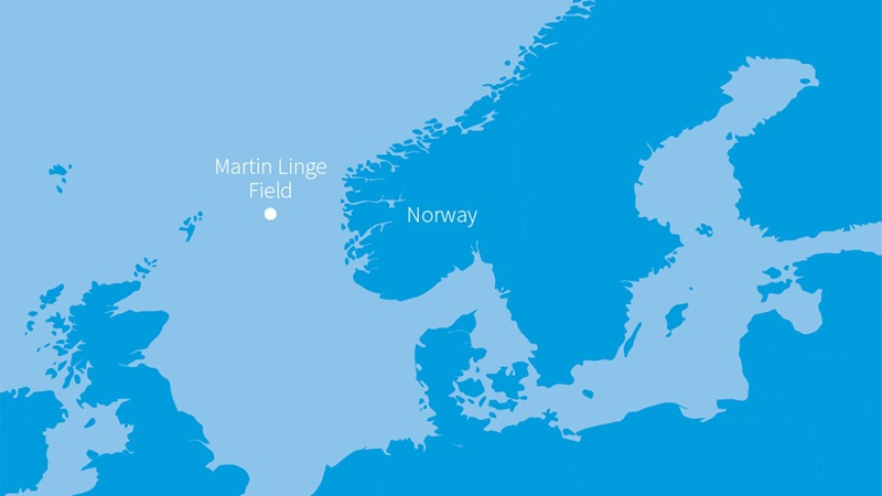 An artistic rendering of a map pointing out the Martin Linge Field off the coast of Norway