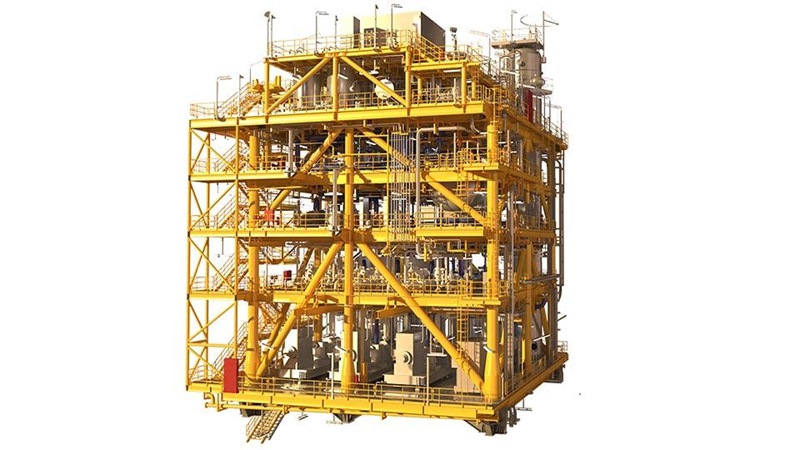 A render of an FPSO seawater treatment system
