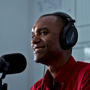 Michael Gaines recording the podcast NOV Today