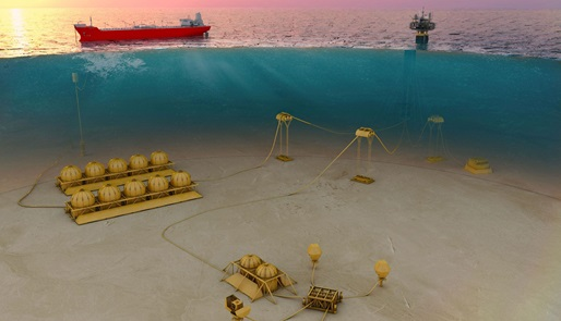 Render of subsea production system infrastructure