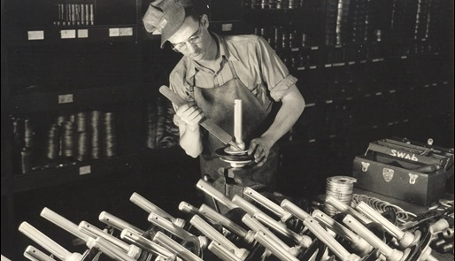 Vintage image of Mission mud master valves from the 1950s