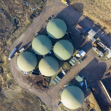 Overhead view of biogas production facility