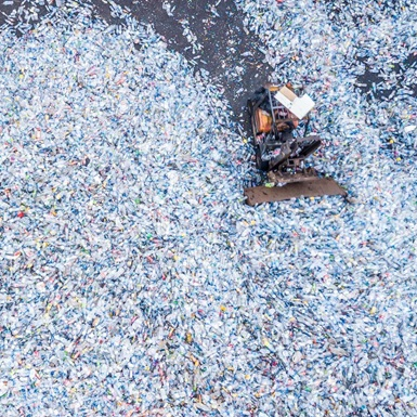 Aerial view of facility processing disposable plastic bottles