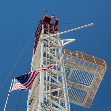 Upward shot of rig mast