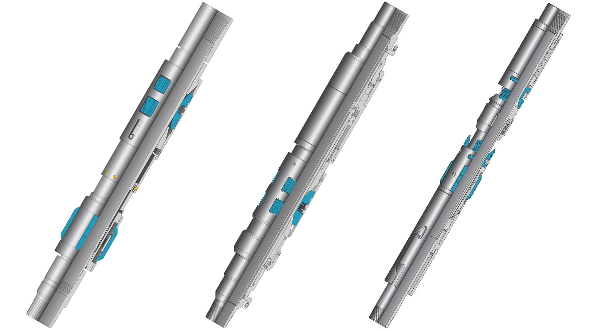 A render of an NAC-1 Tubing Anchor Catcher, an NHA Hydraulic Tubing Anchor, and an NQT Quarter-turn Tubing Anchor