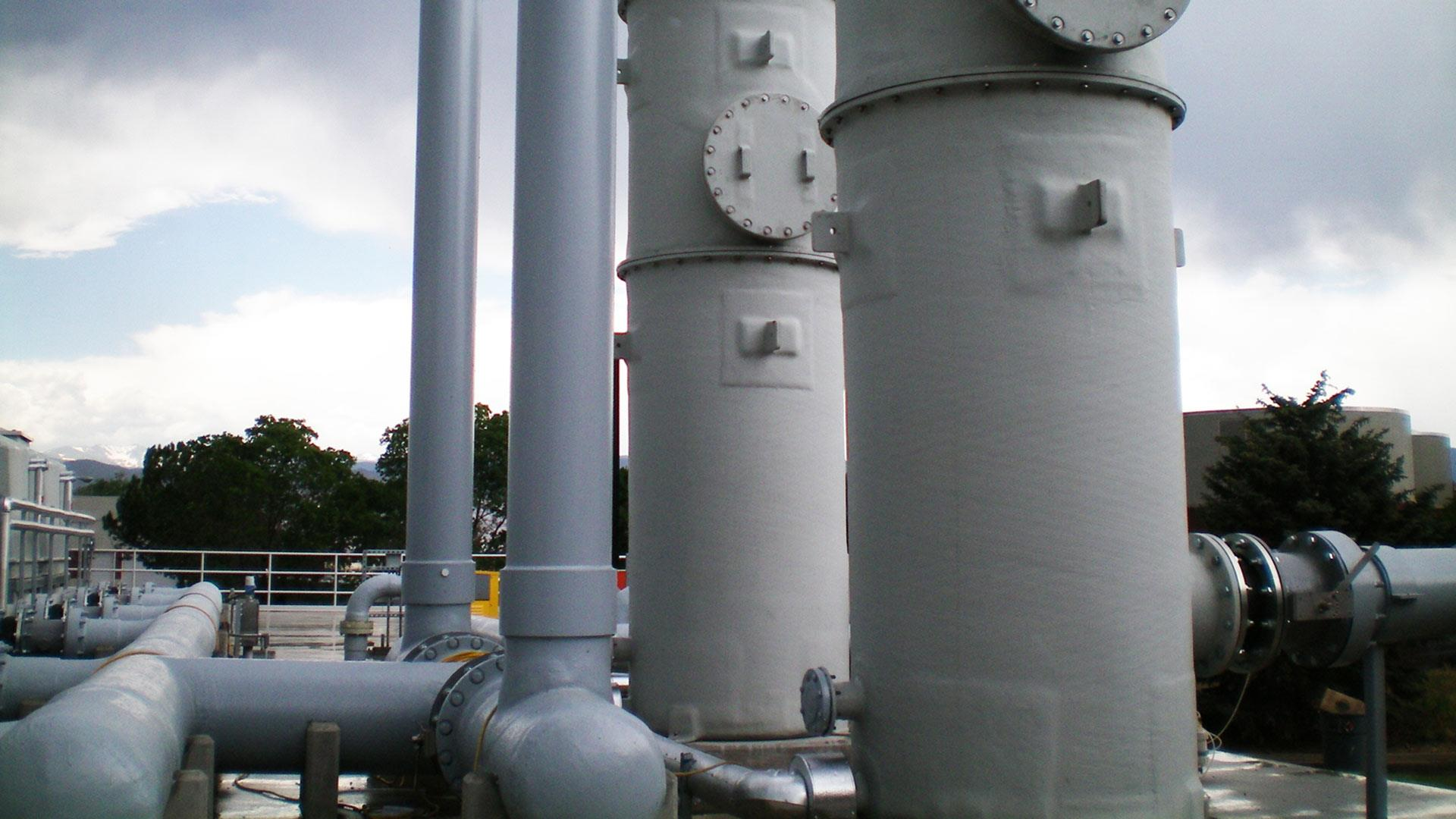 Features a detail closeup of Centricast Fiberglass piping