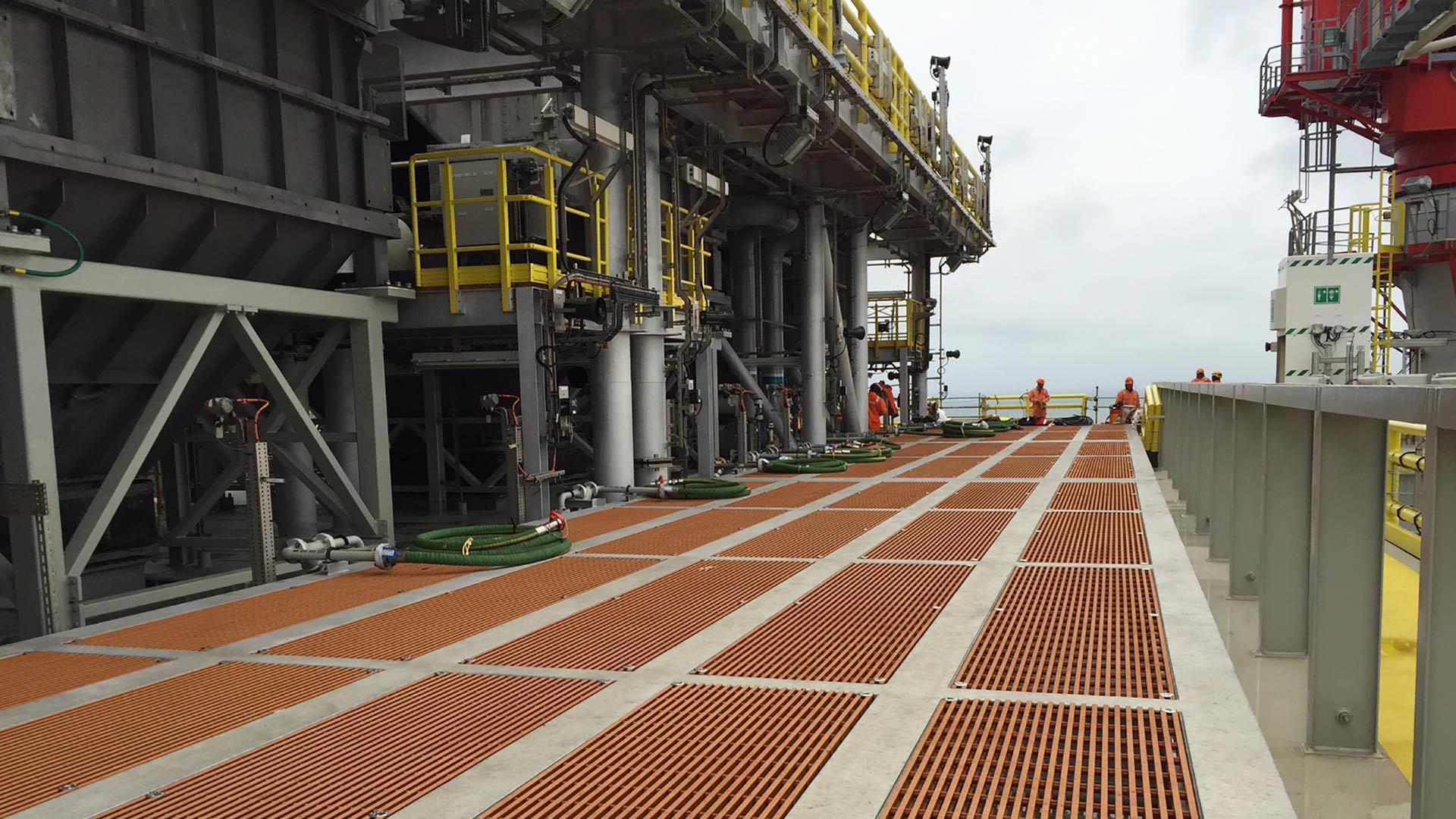 Fiberglass Grating and Flooring line a platform of a rigship