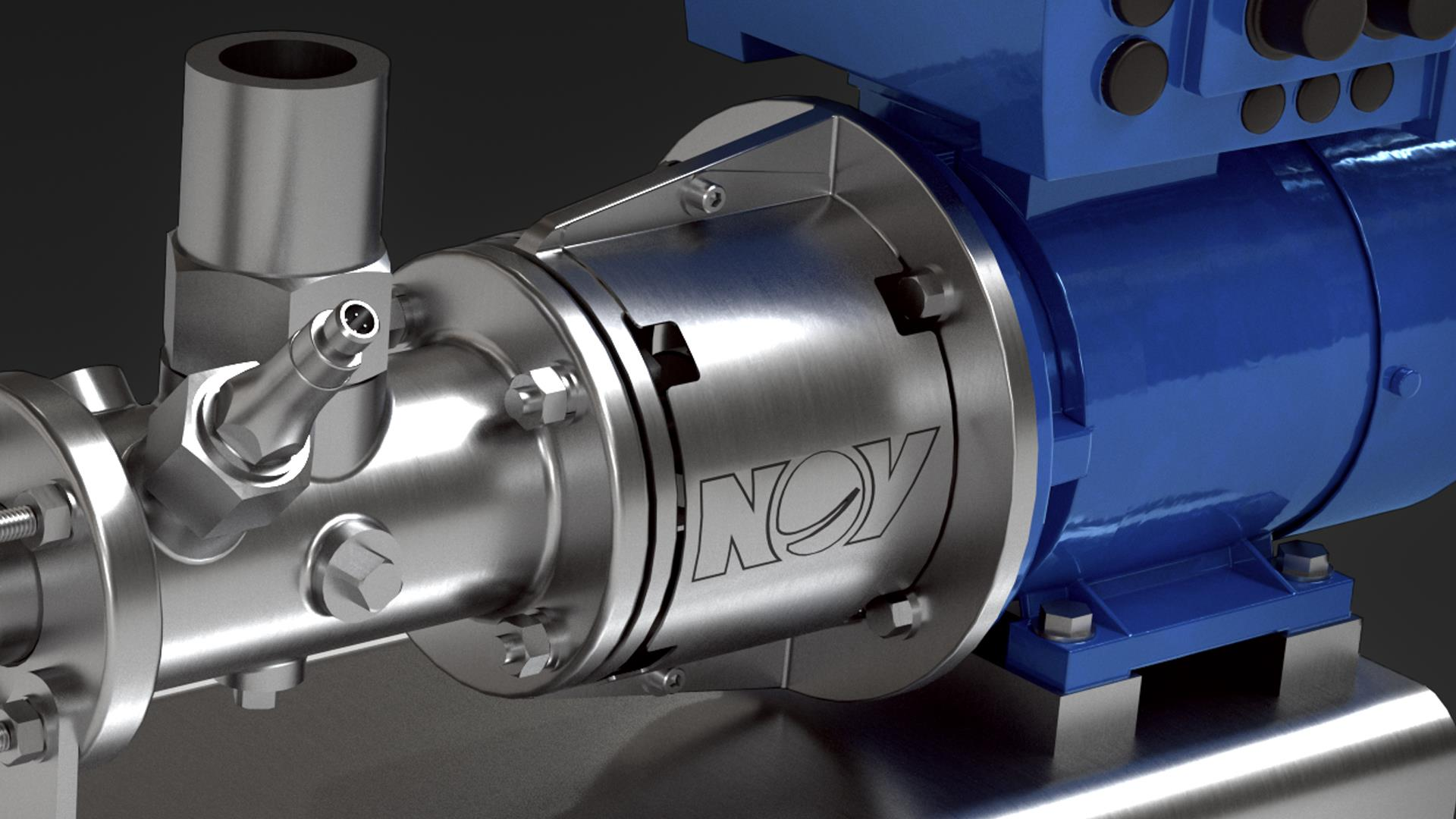 Render of pumping equipment with an engraved NOV logo