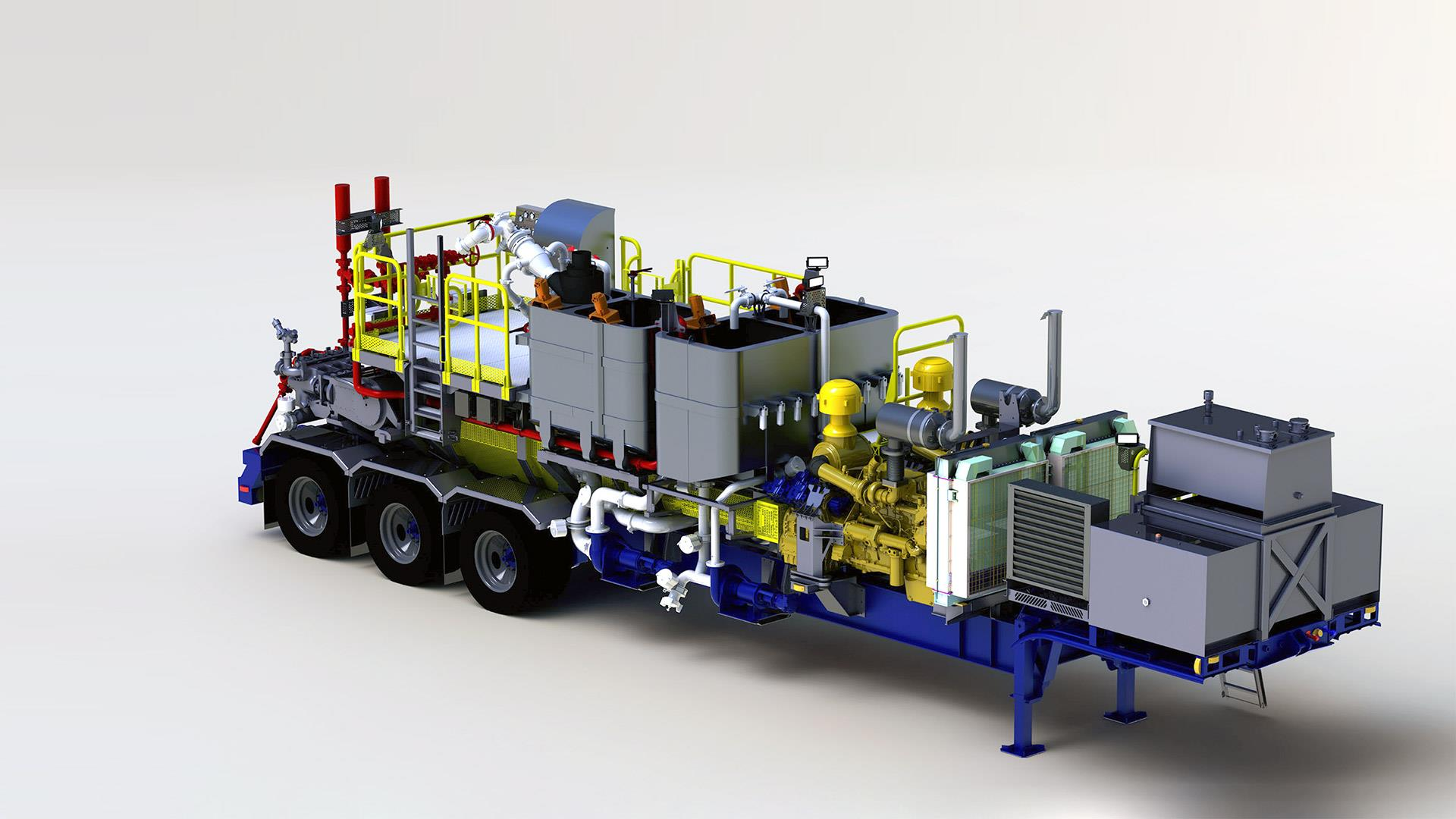Render of a Trailer-Mounted Twin Cement Pumper