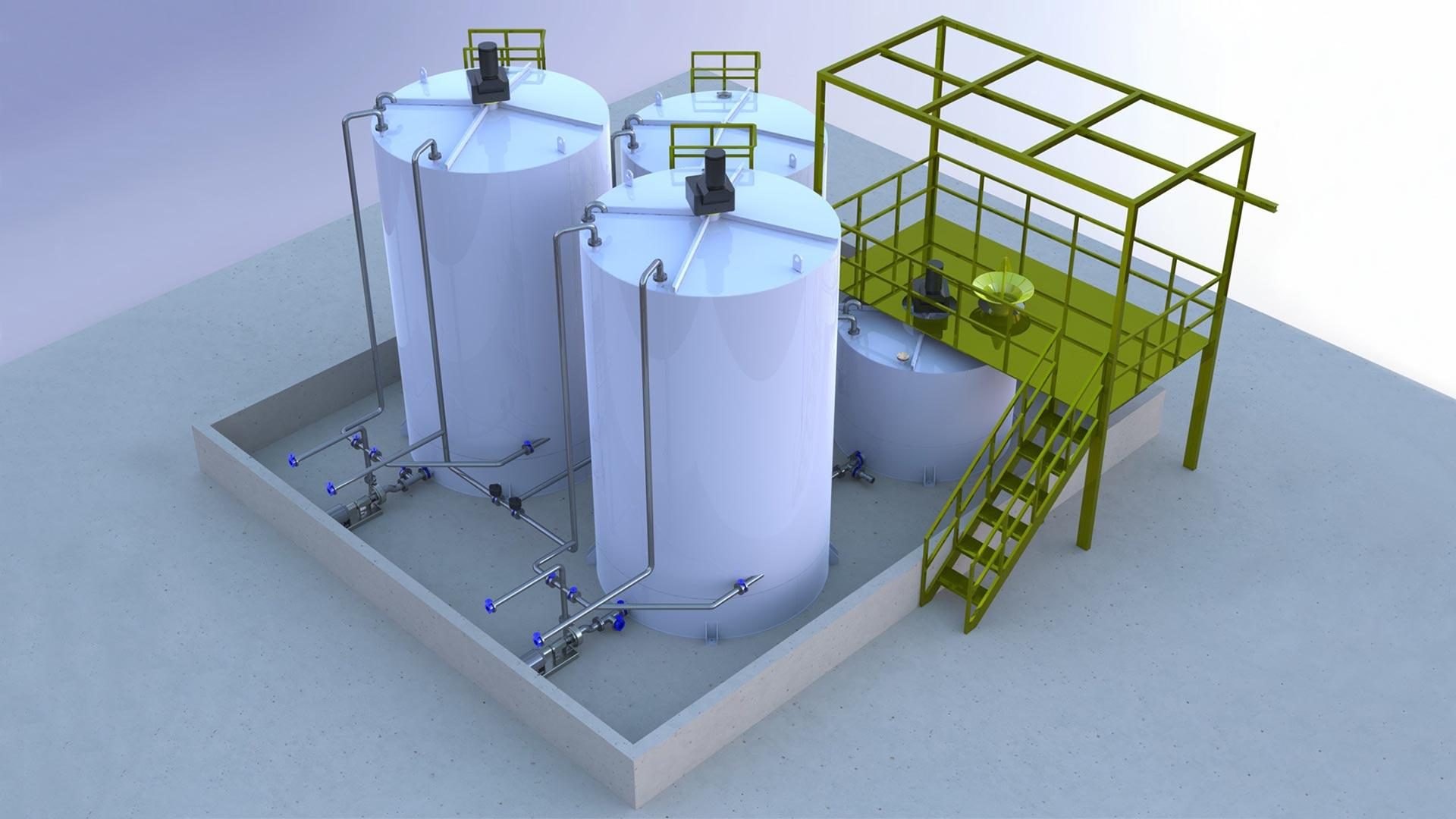 Render of a Gel Mixing and Storage Plant