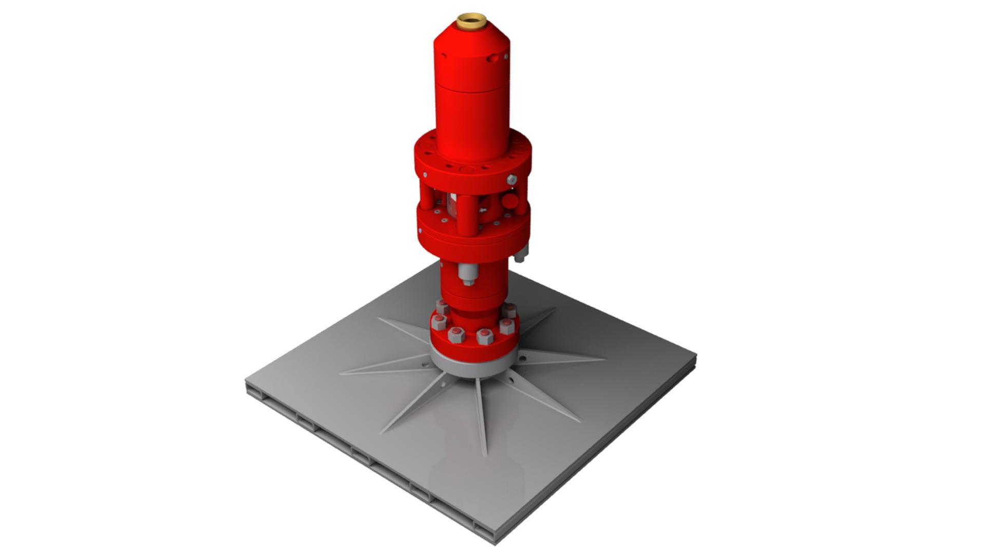 Render of Texas Oil Tools Over/Under Stripper Packer