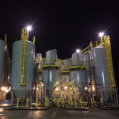 A Stationary Cement Plant at night