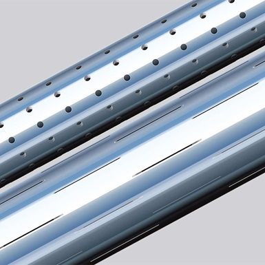 A render of holing and slotting of casing in TUBULAR Completion Equipment