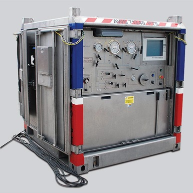 A render of a wireline pressure test skid NORSOK 15,000 psi unit
