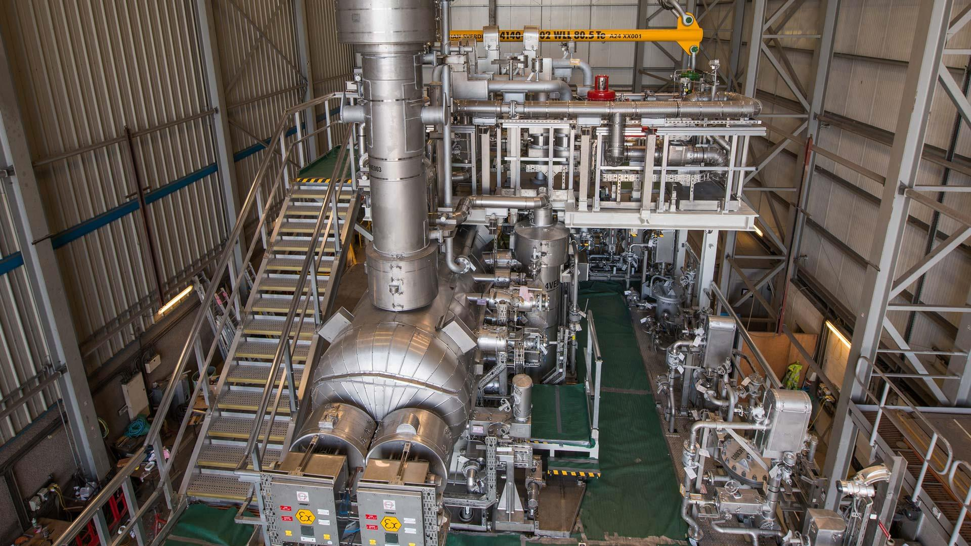 Inside view of a gas treatment plant