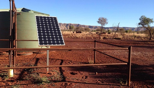 Above ground shot of water pump with solar panel