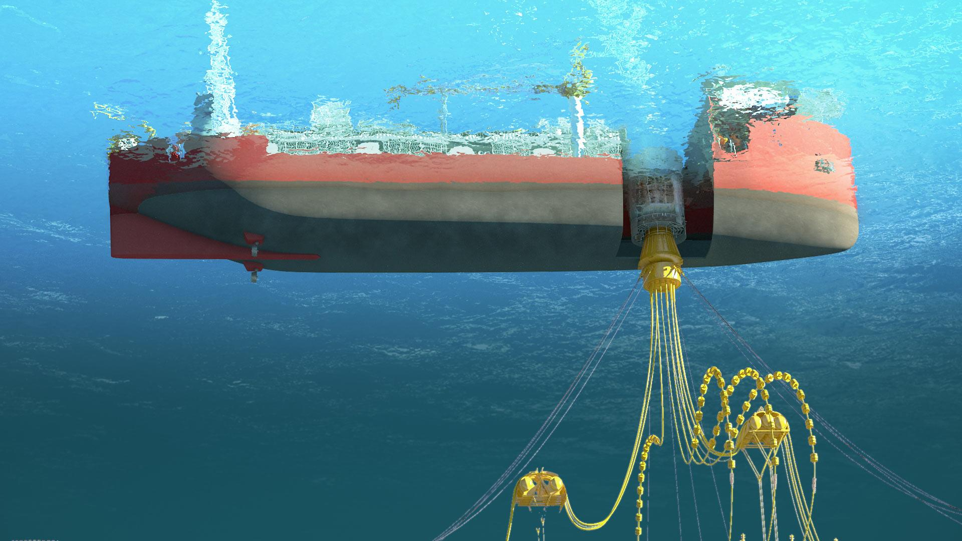 Render of an APL Submerged Turret Production operating under water