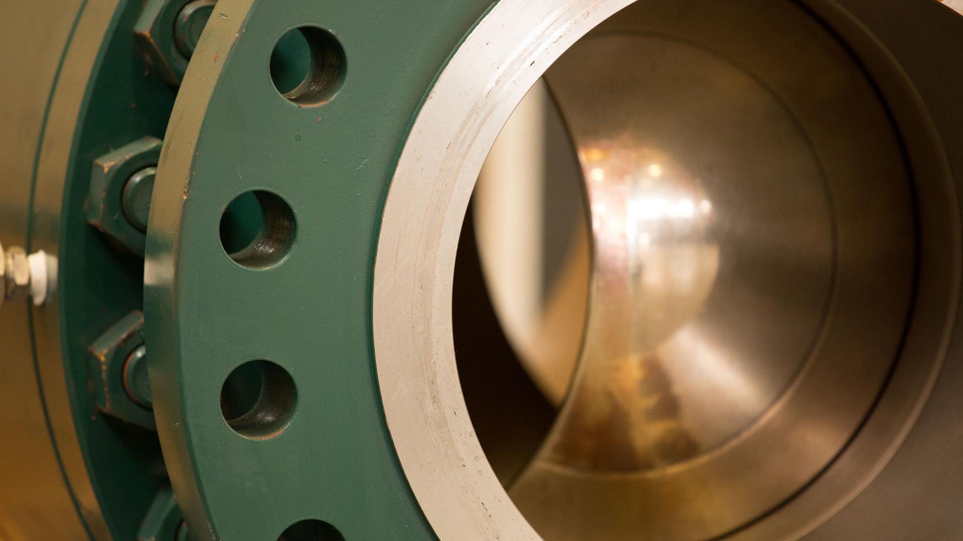 Closeup view of inside a Trunnion Ball Valve