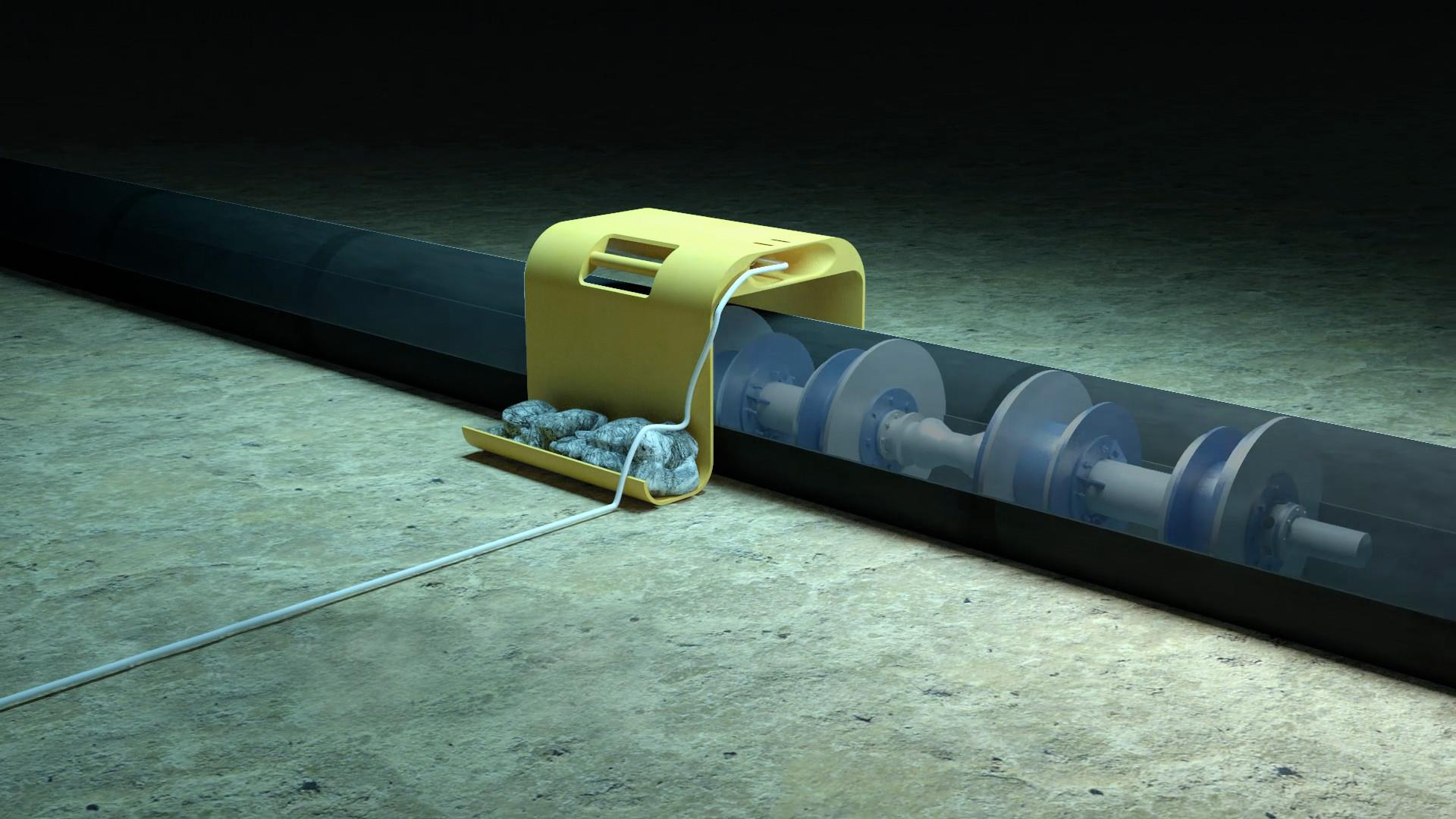 Render of subsea pig tracking technology in operation on the seafloor