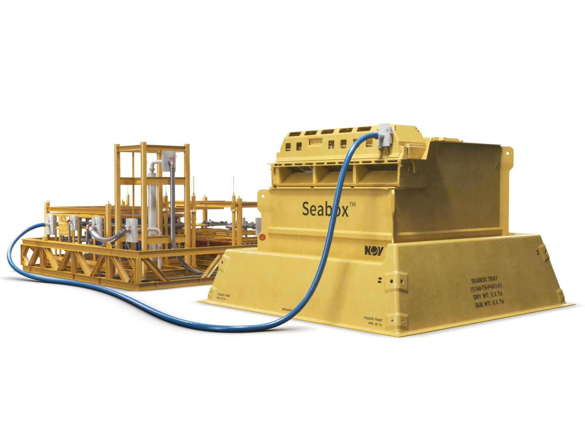 Rendering of the Seabox flow base, Ultrafiltration (UF) pump, and Reverse Osmosis (RO) skid