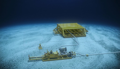 A subsea automated pig launcher setup on the seafloor