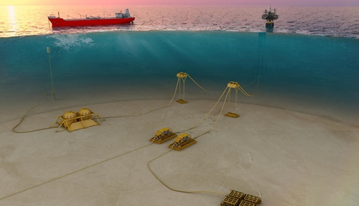 Offshore subsea accessories at work in shallow water