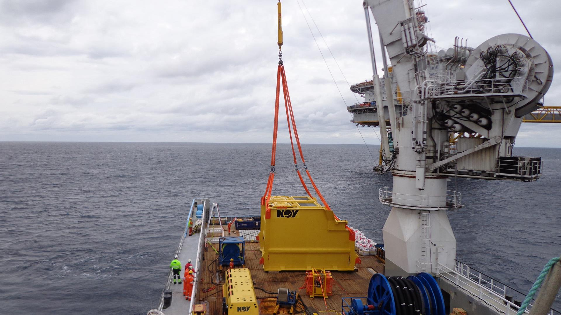 Seabox module on offshore platform preparing for installation subsea
