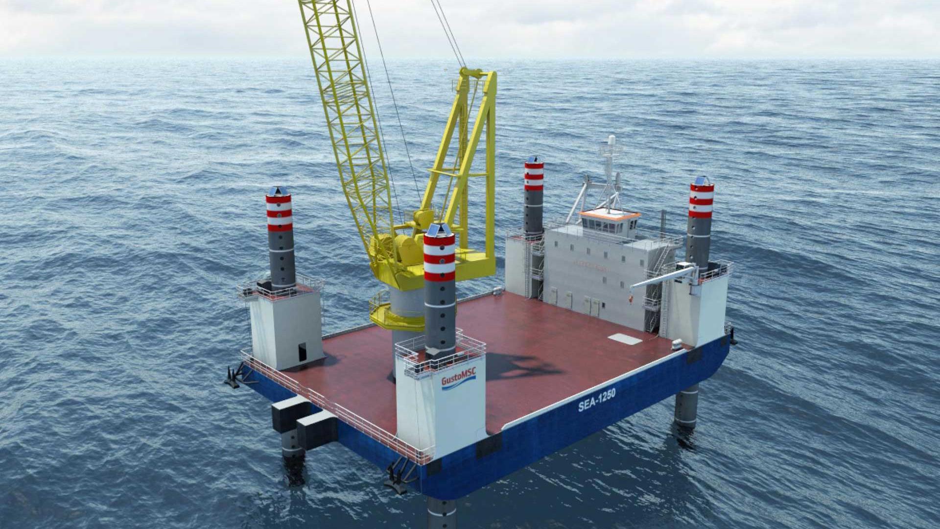 SEA-1250 Jackup Boat Crane