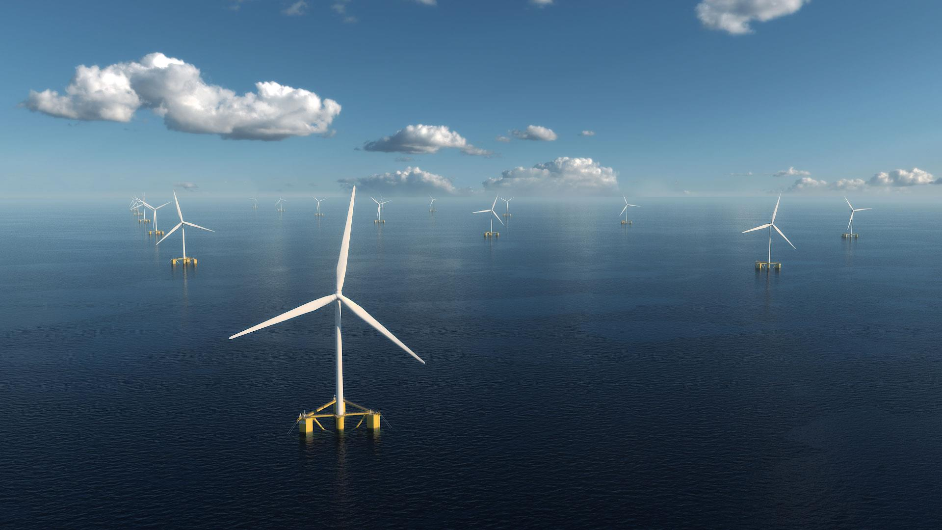 Tri Floater semi submersible floating offshore wind turbine foundations