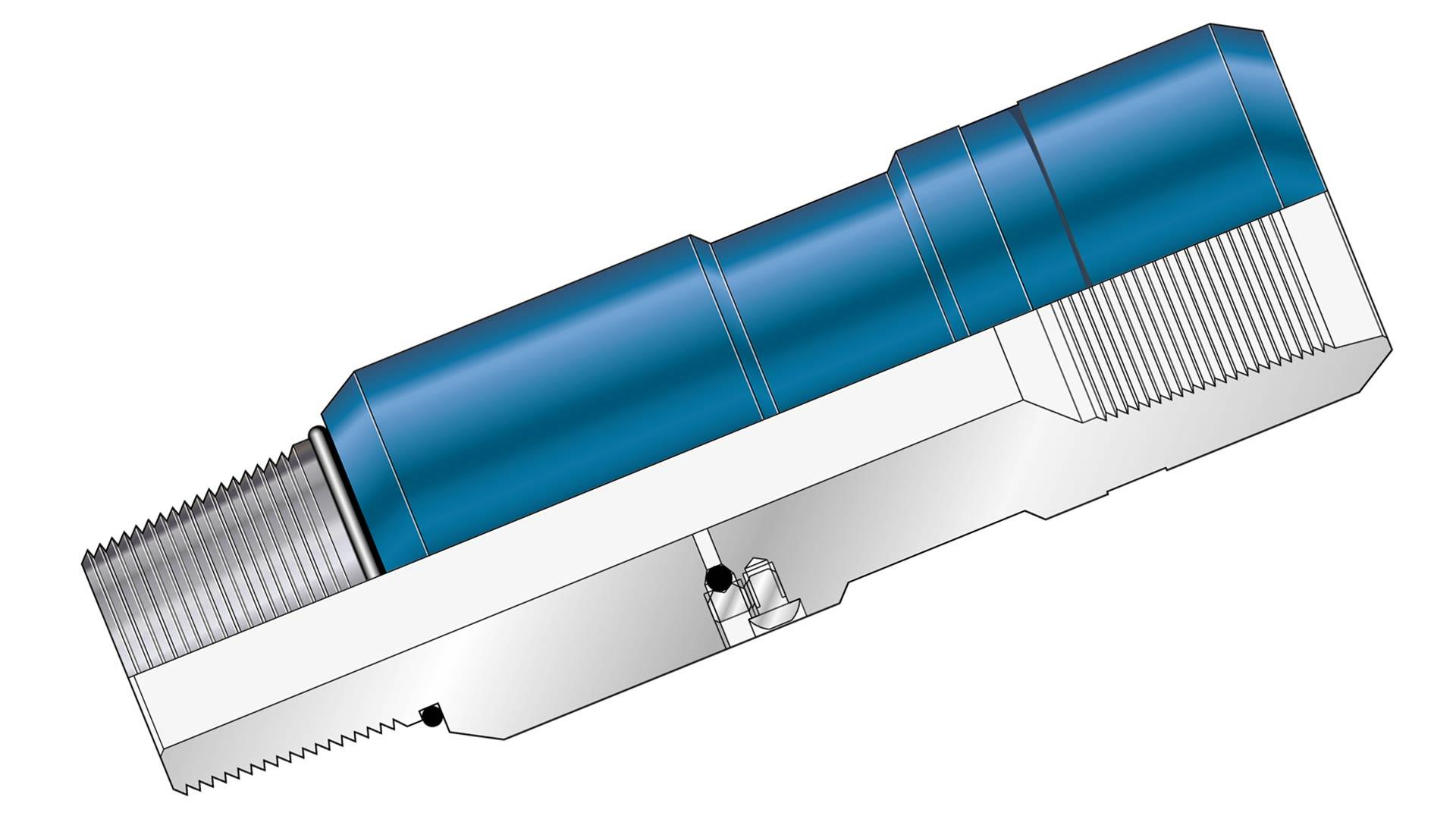 A render of a coiled tubing bleed-off sub