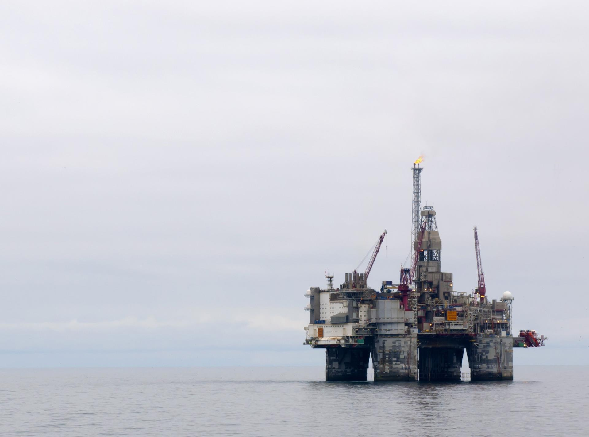 Offshore rig on an overcast day