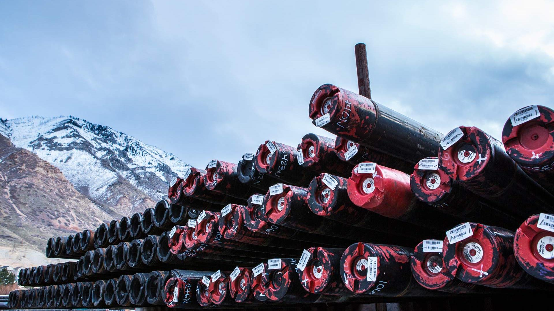 sour service products drill pipe side view in snow