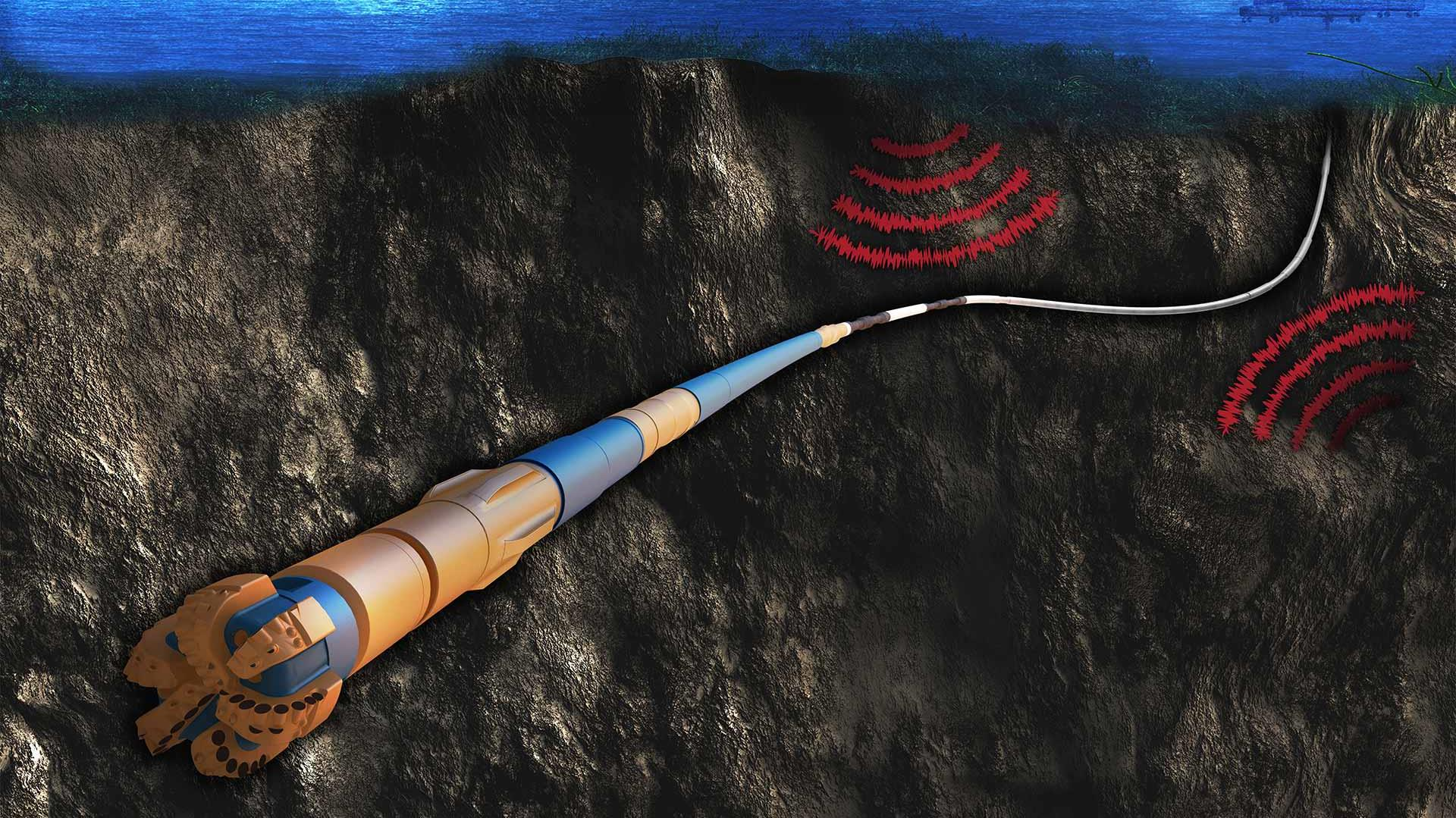 A rendering of a offshore formation with a CerT&D Torque and Drag System.