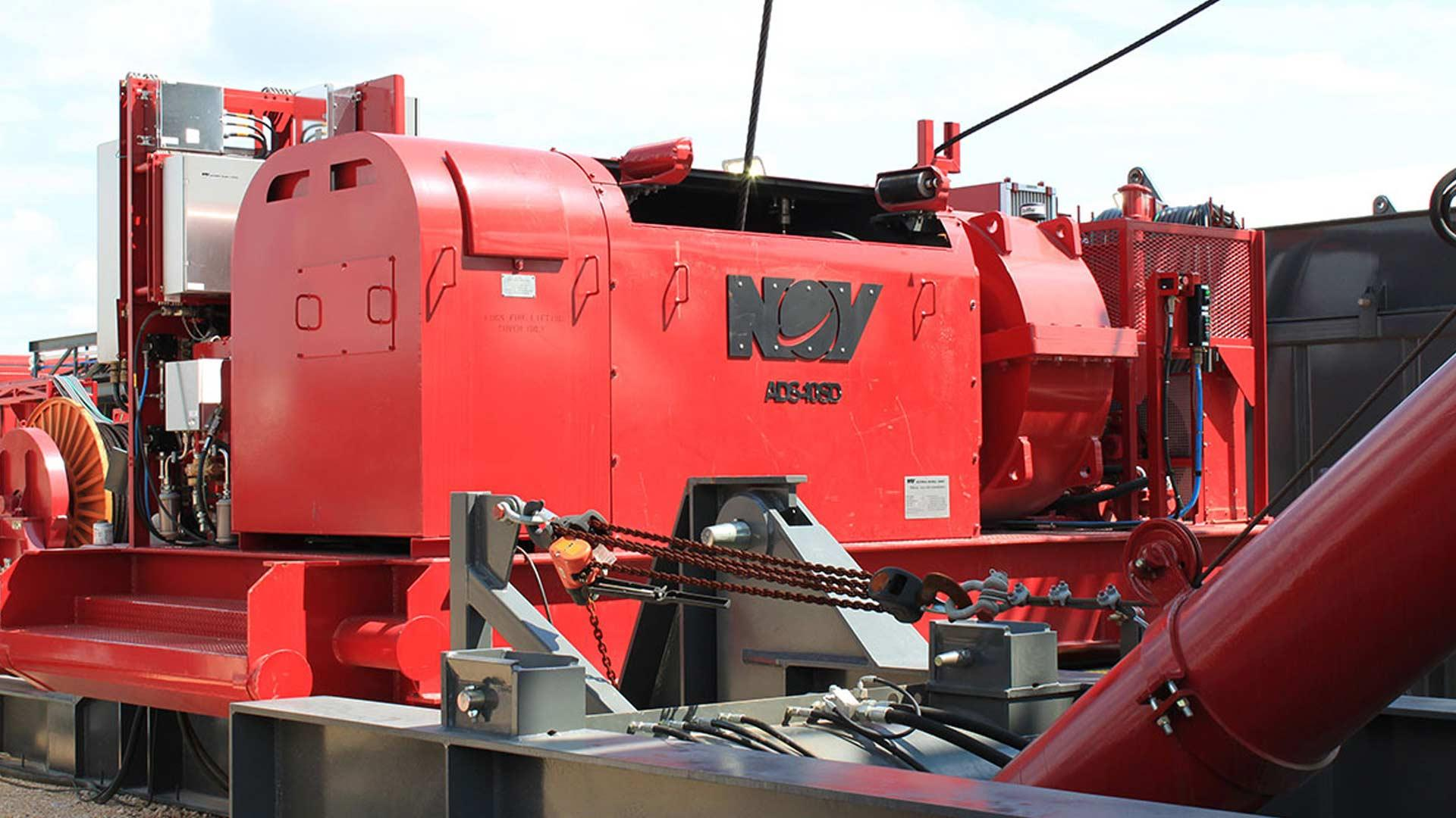 A red e-Wildcat AC Drawworks Autodrilling System