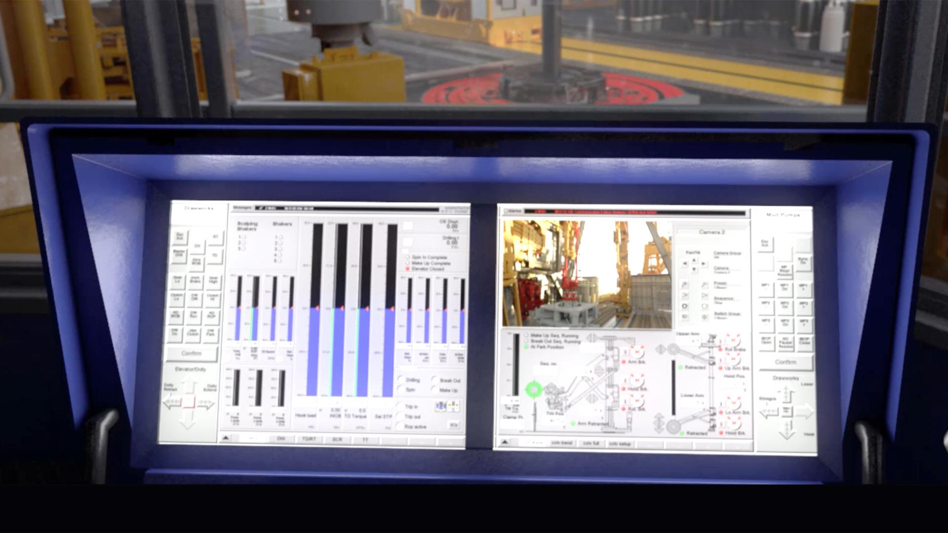 eVolve Control tracking screens in a drillers cabin